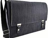 "Messenger bag for 13"" MacBook Air - dark denim. $139.00, via Etsy."