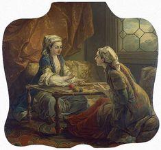 Deux sultanes faisant de la broderie, dessus de porte de la chambre à la Turque de Mme de Pompadour. Vers 1752 de Charles André VAN LOO, dit Carle VAN LOO (français 1705 - 1765)