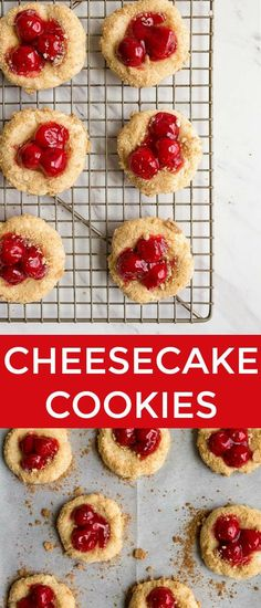 Cherry Cheesecake Cookies: cheesecake cookies rolled in graham cracker crumbs and topped with canned pie cherries. #cheesecake #cheesecakecookies #cookies #cherry #piecherries #cherries via @dessertfortwo