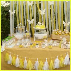 Yellow butterfly first communion party! See more party planning ideas at CatchMy… Yellow butterfly first communion party! See more party. Butterfly Birthday Party, Yellow Birthday, Butterfly Baby Shower, 1st Birthday Girls, Decoration Communion, Birthday Party Decorations, Birthday Parties, Yellow Party Decorations, First Communion Favors