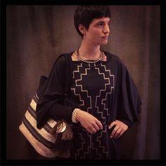 KATARI Andes Clothes Pima Cotton Poncho; Titi Guiulfo Leather Bag