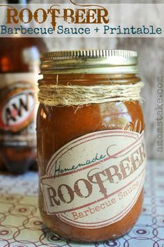 Yummy homemade root beer barbecue sauce recipe and printable label makes a great gift! #amomstake