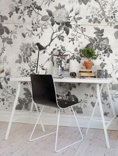 A favorite wallpaper from Rebel Walls, Rosegarden, Black! #rebelwalls #wallpaper #wallmurals