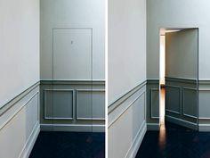 L Invisibile_Hinged door_Maison Matilda Luxury hotel_ boiserie_frontviewopenclosed_Treviso Hidden Doors In Walls, The Doors, Panel Doors, Windows And Doors, Hidden Spaces, Hidden Rooms, Hidden Closet, Secret Space, Secret Rooms