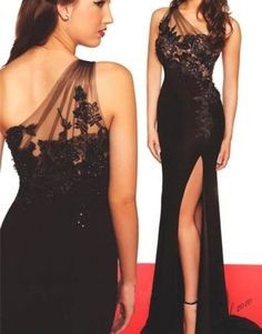 best=Black Prom Dresses One Shoulder Prom Dress Sexy Prom Dress Simple Prom Dresses 2016 Formal Gown Lace on Luulla Sweater Dresses UK Lace Evening Gowns, Sexy Evening Dress, Black Evening Dresses, Black Prom Dresses, Pretty Dresses, Sexy Dresses, Dress Black, Backless Dresses, Cheap Dresses