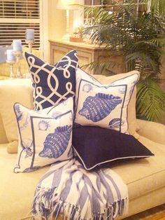 Classic Blue  White Custom Pillows - #CoastalPillows - #BeachPillows