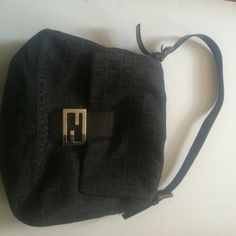 Fendi Zucca large baguette shoulder bag FENDI large shoulder bag. Lined with inner zip pocket--very minor wear FENDI Bags Shoulder Bags