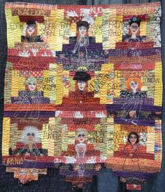 """The Nine Muses, 34.5 x 28.5"""", by Ulva Ugerup (Sweden).  Photo by Quilt Inspiration: SAQA People and Portraits art quilt exhibit 2016"""