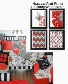 Vintage / Modern Inspired Baby Nursery Prints Collection -Set of 4 - 8x10 Prints -Red Grey White (UNFRAMED) — Antinoro Pixel Prints