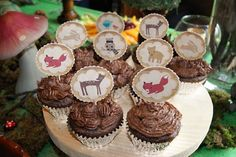 our cupcakes with printable decor.....printable sheets of woodland animals via childreninspiredesign.com blog