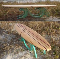 surf coffee table surfboard table designed by surfboard shaped coffee table Surfboard Table, Surfboard Art, Decoration Surf, Surf Decor, Deco Surf, Surf House, Surf Shack, City Furniture, Nautical Furniture