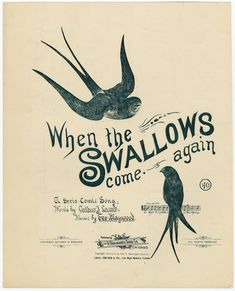 When the swallows come again / words by Arthur J. Lamb ; music by Geo. Maywood.  [When the swallows come again, in the spring, in the spring. ...] (c1894). Image ID: 1166863