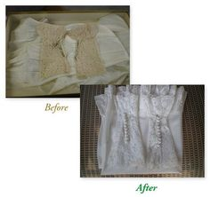 Wedding gown cleaning (before/after). Contact Dublin Cleaners - www.dublincleaners.com
