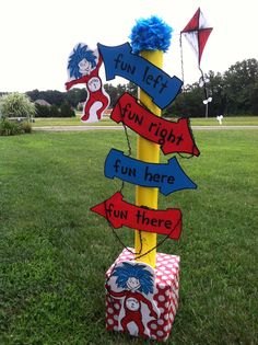 Dr. Seuss ~ Thing 1 and Thing 2 Directional sign!
