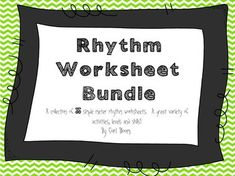 This collection of 35 worksheets is a great review of rhythms in simple meters.  I use most of these worksheets for new students or students who request extra practice at home.  The worksheets vary in difficulty and span a variety of learning styles.  They are all black and white for easy printing and so great to have on hand!