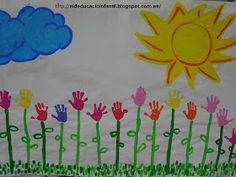 Make a May Day Mural using painted handprints and large roll of paper. May handprints into flowers, not necessarily add cloud, grass or sun, just have flowers. Classroom Window Decorations, Classroom Crafts, School Decorations, Toddler Crafts, Crafts For Kids, Easter Story, Creative Arts And Crafts, Spring Activities, Spring Crafts