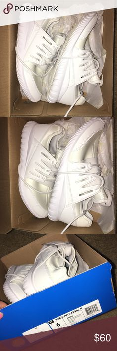 Adidas Tubular Radial All white in color! Size 6 in kids and fits women's 7-7.5. Extremely comfortable and worn a couple of times adidas Shoes Sneakers