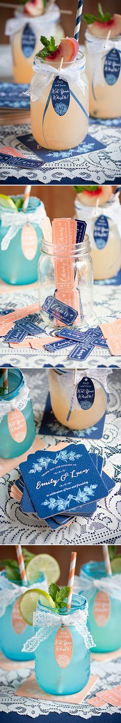 DIY mason jar cocoktail for wedding reception