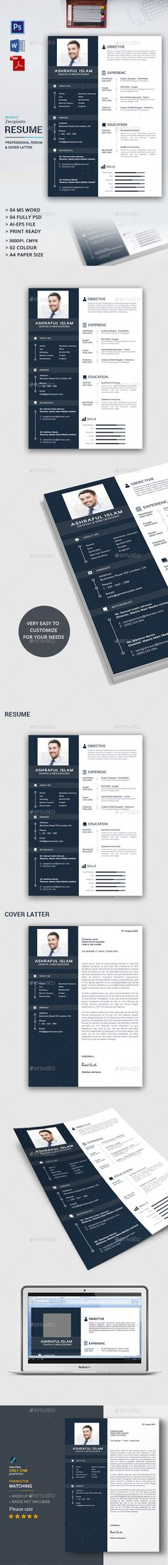 Buy Resume / CV by zeropixels on GraphicRiver. Best Cv Template, Resume Design Template, Resume Templates, Cv Photoshop, Cv Web, Cv Design, Logo Design, Creative Cv, Cover Letter For Resume