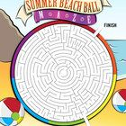 Free! summer themed maze in the shape of a beach ball.