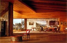 The interior of Auric Goldfinger's Kentucky stud ranch, one of Ken Adams' modernist set designs from the James Bond classic, Goldfinger (1964)