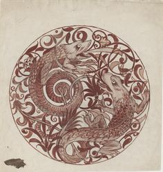 Design for Decoration for a Lustre Dish, William de Morgan, 1879. Museum no. E.1217-1917