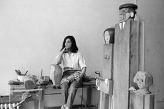 """Marisol in 1964, with her sculpture 'The Kennedy Family."""" Credit Sam Falk/The New York Times.  Marisol Estate Is Given to the Albright-Knox Art Gallery - The New York Times"""