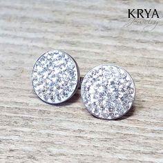 12mm Swarovski Crystal Steel Earrings - Surgical Steel Jewelry - crystal by SteelJewelryShop on Etsy