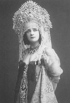"Ekaterina Geltzer, a Russian ballerina, wearing a traditional costume with a headdress ""Kokoshnik"". 1912."