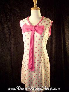 Vintage 60s Dress Pink Polka Dots Linen Shift  sz L Dena's Closet online