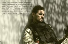 """Vincent's spent most of his adult life fighting overseas, a lot of it in JSOC... Naturally eric bana as """"hoot"""" in black hawk down is an inspiration for that."""