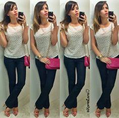 jeans pants; white blouse; pink purse