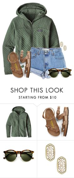 """""""~cool morning~"""" by flroasburn on Polyvore featuring Patagonia, Levi's, Birkenstock and Kendra Scott"""