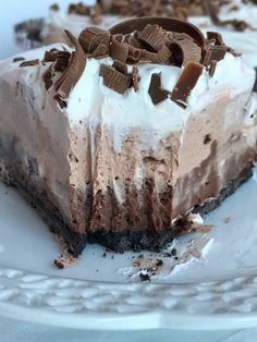 No Bake Triple Layer Chocolate Cream Pie | No bake triple layer chocolate cream pie is a must make for your Holiday table! Three layers of creamy chocolate pudding inside a chocolate cookie crust. No bake, 4 ingredients, and some fridge time is all you need for the best chocolate cream pie dessert | Together as Family #nobakepierecipes #nobakepie #chocolatecreampierecipe #chocolatecreampie #dessert #dessertrecipes #chocolaterecipes #chocolate