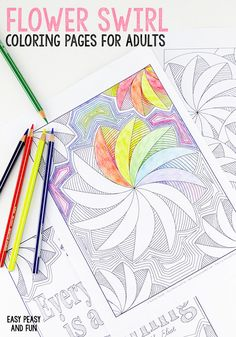 3 Flower Swirl Coloring Pages for Adults - Easy Peasy and Fun