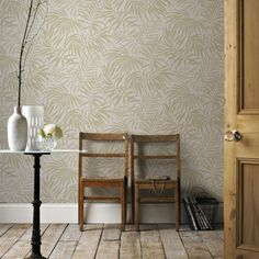 Tropic Wallpaper in Beige and Gold from the Pure Collection by Graham & Brown