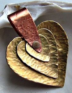 Metal Jewelry Three Hearts Brass and Copper Pendant Mixed Metal Jewelry, Metal Clay Jewelry, Brass Jewelry, Heart Jewelry, Leather Jewelry, Custom Jewelry, Handmade Jewelry, Jewlery, Jewelry Crafts