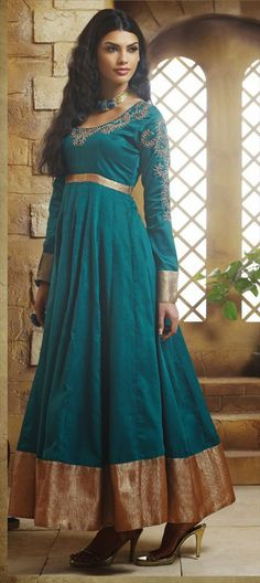 411761: TEAL GREEN in art silk fabric. Check out this ethnic #anarkali