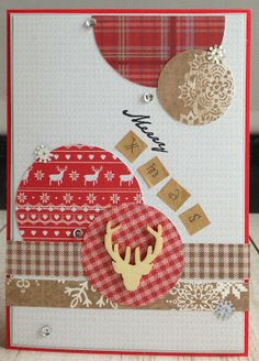 handmade Christmas card from Linda Crea: Christmas in the Country  ... luv the circles cut from country style printed papers ...  card sketch inspired ... collage style ..