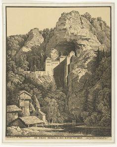 Karl Friedrich Schinkel | Slot Prediama tussen de rotsen, Karl Friedrich Schinkel, Fr. Klinzmann, c. 1816 | Gezicht op hoge rotsen met een in een spelonk gebouwde burcht. Op de voorgrond een beek, links een watermolen.