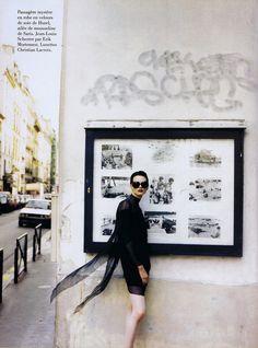 Kristen McMenamy in Jean Louis Scherrer for Erik Mortensen. Christian Lacroix sunglasses. 1994.