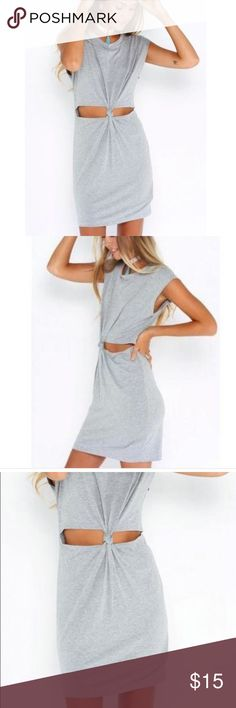 Women Gray Short Sleeve Twisted Knot Jersey Dress Descriptions PRODUCT INFO- SIZE SMALL COLOR: Gray  DETAIL: Cut out  DRESSES LENGTH: Mini  MATERIAL: Cotton  NECKLINE: Round neck  SILHOUETTE: Bodycon  SLEEVE LENGTH: Short sleeve Dresses Mini