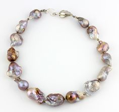 Handmade Lavender and Gold Tones Pearl Necklace, Natural Baroque Pearls by Gemjunky1 on Etsy