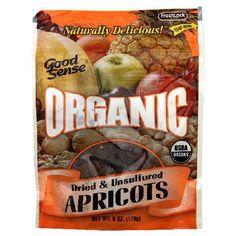 $21.54 Good Sense Organic Dried & Unsulfured Apricots, 6-Ounce Bag (Pack of 6) by Good Sense, http://www.amazon.com/dp/B001FA1I50/ref=cm_sw_r_pi_dp_Lktvqb01FZ1FG