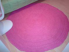 Runder Häkelteppich aus Textilgarn Textilo stripe Typ W in Pink von Nicole