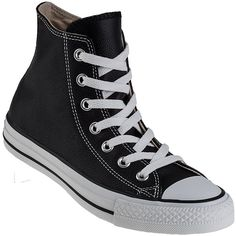 CONVERSE WOMEN'S Chuck Taylor All-Star Hi-Top Sneaker Black Leather ($70) ❤ liked on Polyvore featuring shoes, sneakers, converse, black leather, leather wedge sneakers, black wedge sneakers, black leather sneakers, converse shoes and hi top wedge sneakers