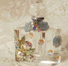 Iridescent Vintage Jewelry Bits Perfume Bottle