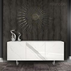 Lacquered frame sideboard with italian ceramic doors