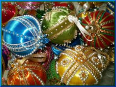 Vintage jeweled beaded Christmas ornaments / balls ~photo by Debbie Jackson.