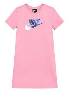 Nike Sportswear Older Girls T-Shirt Dress - Pink, Pink, Size - Pink - Years Nike Dresses, Athleisure Trend, Nike Sportswear, Baby Wearing, Pink Dress, Kids Fashion, Cool Outfits, Shirt Dress, 10 Years